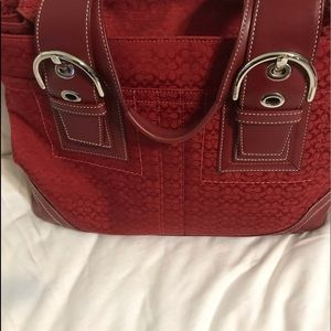 Red coach Bag with leather trim and handle